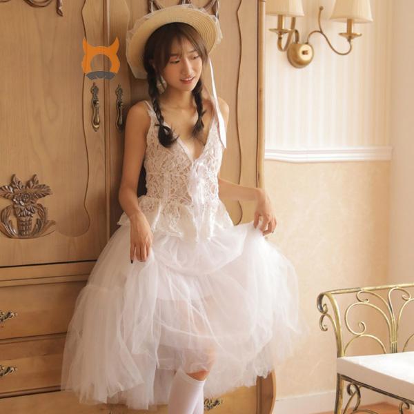 小清新女生深v蕾丝长裙性感美腿丝袜写真 漂亮的小姐姐